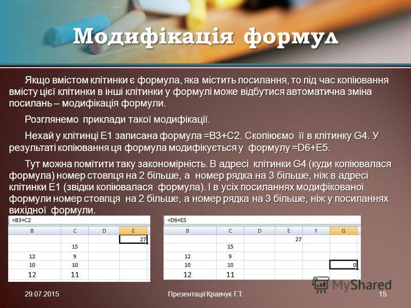 Якщо вмістом клітинки є формула, яка містить посилання, то під час копіювання вмісту цієї клітинки в інші клітинки у формулі може відбутися автоматична зміна посилань – модифікація формули. Розглянемо приклади такої модифікації. Нехай у клітинці Е1 з