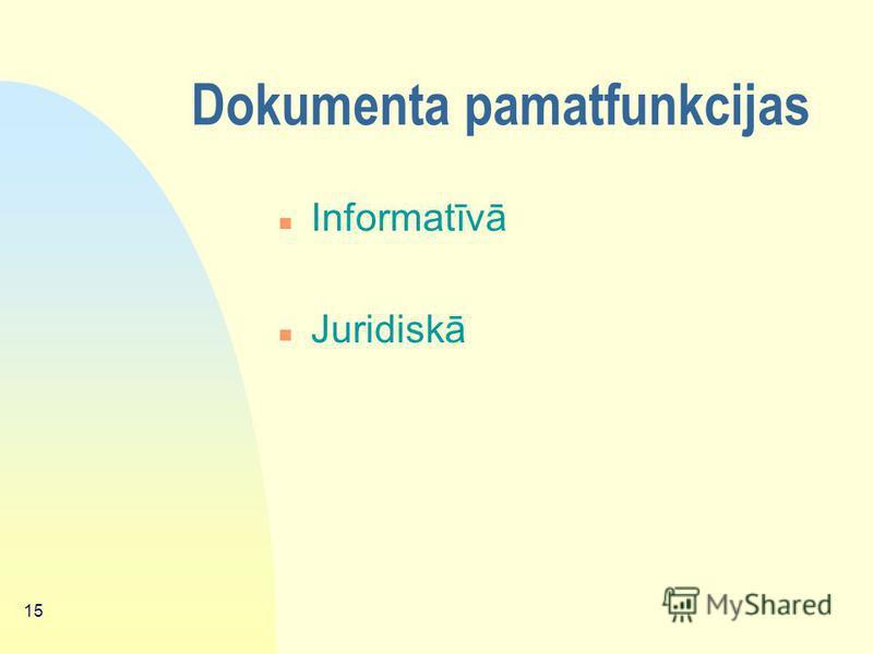 14 Dokumenta definīcijas: n Dokuments – informācija, kas radusies un/vai saņemta uz jebkura informācijas nesēja, ierosinot, turpinot, mainot vai izbeidzot kādu darbību, un kas apliecina šo darbību. Dokumentu veido saturs, konteksts un struktūra. (VAĢ