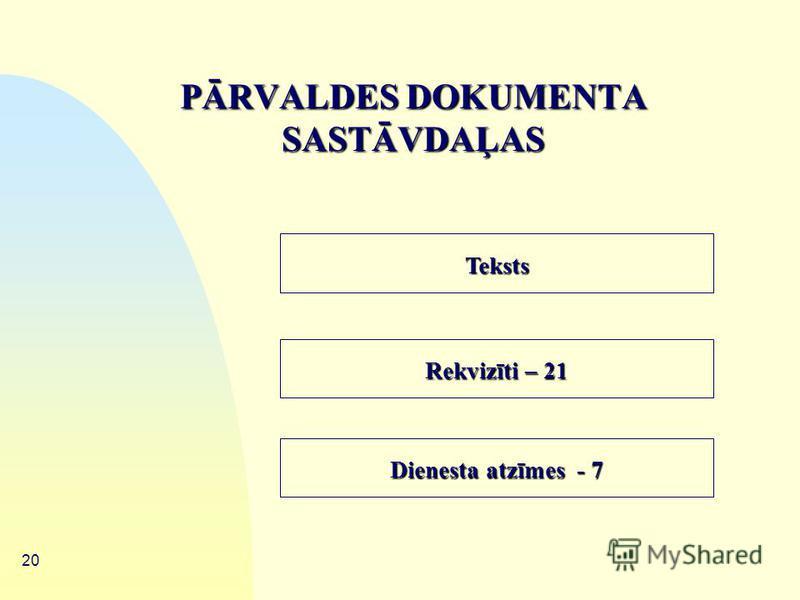 19 PĀRVALDES DOKUMENTI – dokumentu sistēma, kas apvieno dokumentus ar kuru palīdzību īsteno attiecīgās organizācijas vadību 1.1. Organizatoriskie dokumenti 1.2. Rīkojuma dokumenti 1.3. Izziņu un pārskatu dokumenti 1.4. Sarakstes dokumenti 1.5. Person