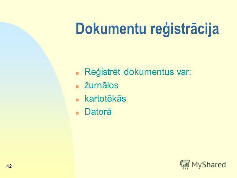41 Lietvedības instrukcijas n 7.Iesniegumu lietvedība; n 8. Organizācijas struktūrvienību un darbības virzienu sistematizēšana; n 9. Lietu nomenklatūras izstrādāšana un lietu formēšana; n 10. Arhīva darba organizācija; n 11. Pielikumi, kuros parādīti