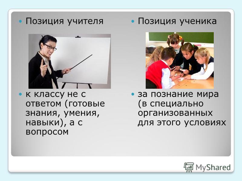 Позиция учителя к классу не с ответом (готовые знания, умения, навыки), а с вопросом Позиция ученика за познание мира (в специально организованных для этого условиях
