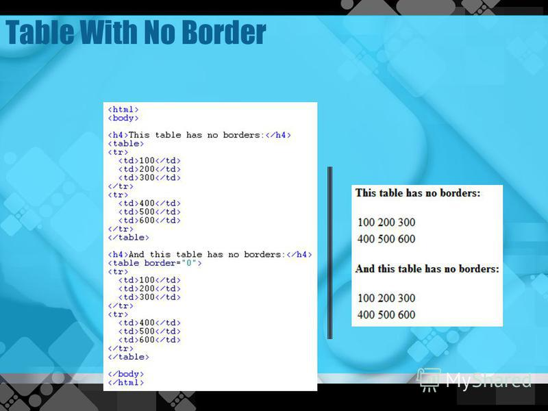 Lesson 3 html formatting text for Table no border