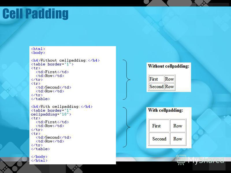 Lesson 3 html formatting text for Html table column padding