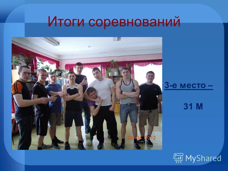 Итоги соревнований 3-е место – 31 М