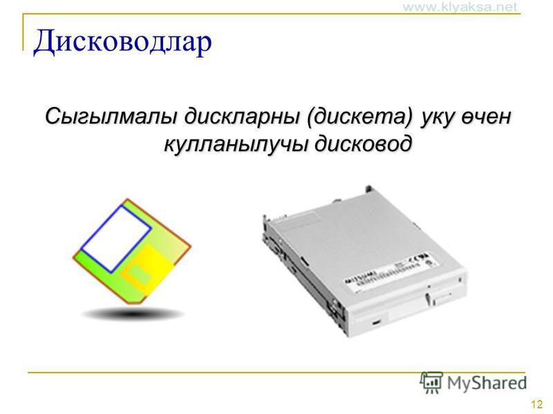 12 Дисководлар Сыгылмалы дискларны (дискета) уку өчен кулланылучы дисковод