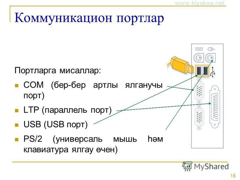 15 Коммуникацион портлар Портларга мисаллар: COM (бер-бер артлы ялганучы порт) LTP (параллель порт) USB (USB порт) PS/2 (универсаль мышь һәм клавиатура ялгау өчен)