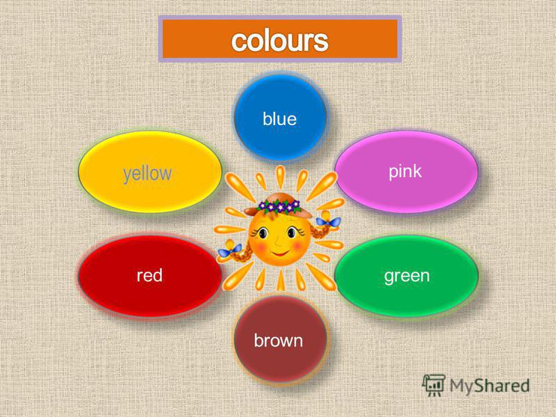red blue pink green brown