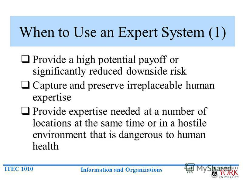 ITEC 1010 Information and Organizations When to Use an Expert System (1) Provide a high potential payoff or significantly reduced downside risk Capture and preserve irreplaceable human expertise Provide expertise needed at a number of locations at th