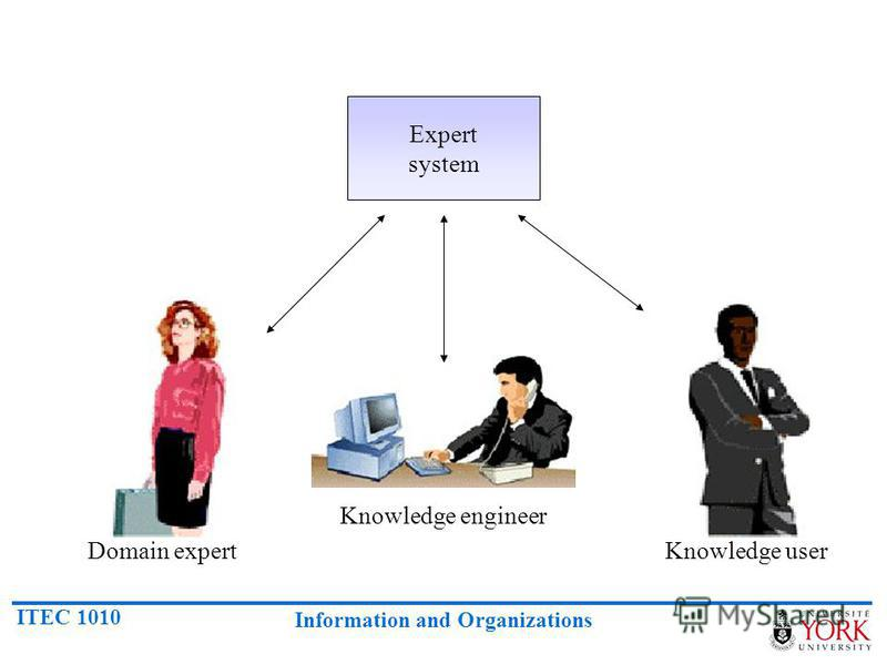 ITEC 1010 Information and Organizations Expert system Domain expert Knowledge engineer Knowledge user