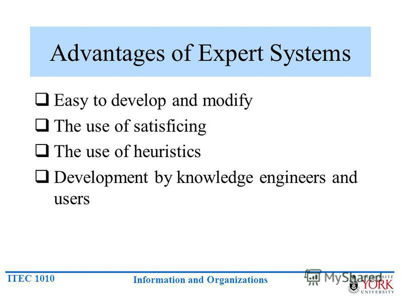 ITEC 1010 Information and Organizations Advantages of Expert Systems Easy to develop and modify The use of satisficing The use of heuristics Development by knowledge engineers and users