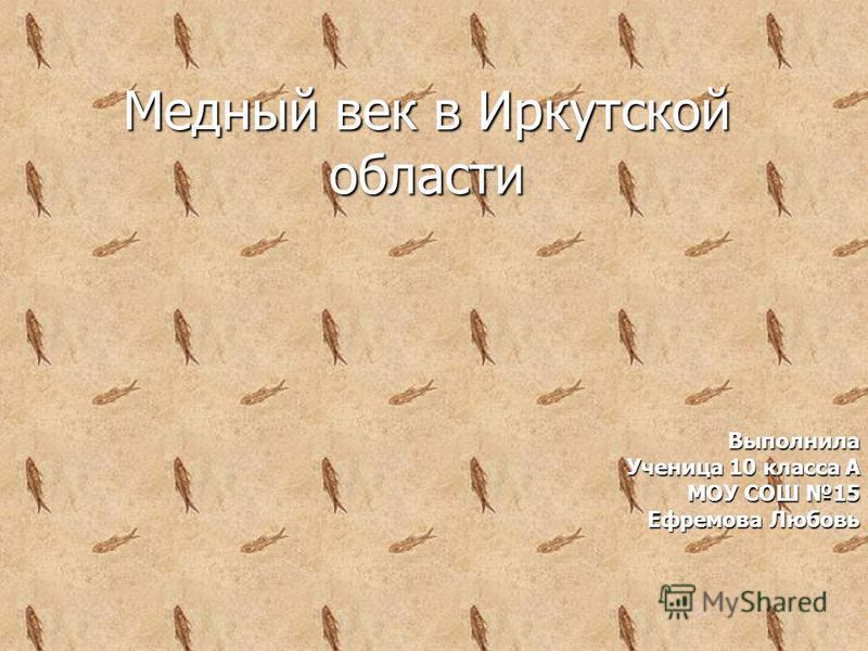 Медный век в Иркутской области Выполнила Ученица 10 класса А МОУ СОШ 15 Ефремова Любовь
