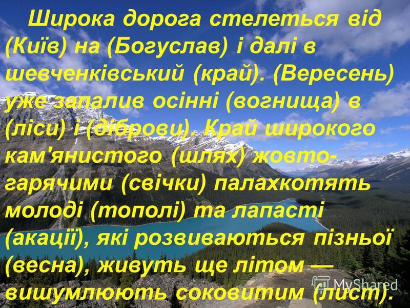 Широка дорога стелеться від (Київ) на (Богуслав) і далі в шевченківський (край). (Вересень) уже запалив осінні (вогнища) в (ліси) і (діброви). Край широкого кам'янистого (шлях) жовто- гарячими (свічки) палахкотять молоді (тополі) та лапасті (акації),