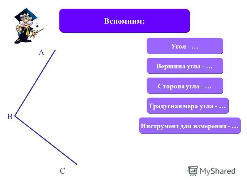 Вспомним: Угол - … Сторона угла - … Вершина угла - … Инструмент для измерения - … Градусная мера угла - … А В С
