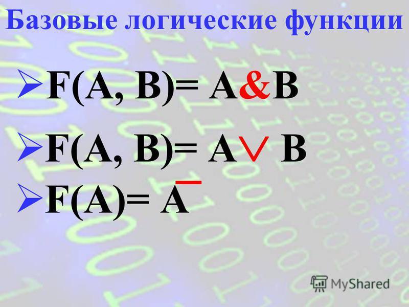F(x 1, x 2, …, x n ) – сложное логическое выражение. Логическая функция Аргументы функции – x 1, x 2, …, x n – простые логические выражения (логические переменные). Сама функция и её аргументы могут принимать значения «ложь» (0) или «истина» (1).