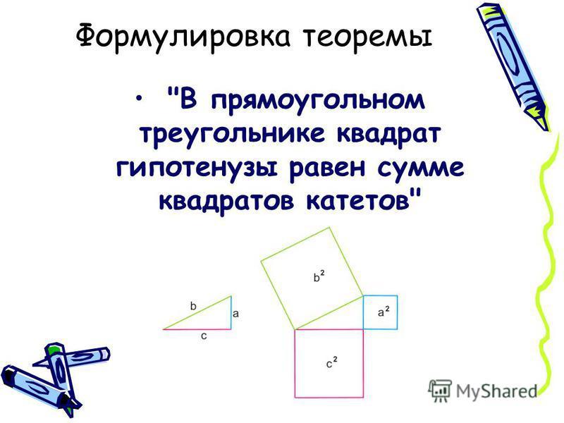 Формулировка теоремы В прямоугольном треугольнике квадрат гипотенузы равен сумме квадратов катетов