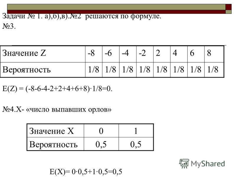 Задачи 1. а),б),в).2 решаются по формуле. 3. Е(Z) = (-8-6-4-2+2+4+6+8)·1/8=0. 4.Х- «число выпавших орлов» Е(Х)= 0·0,5+1·0,5=0,5 Значение Z-8-6-4-22468 Вероятность 1/8 Значение Х01 Вероятность 0,5