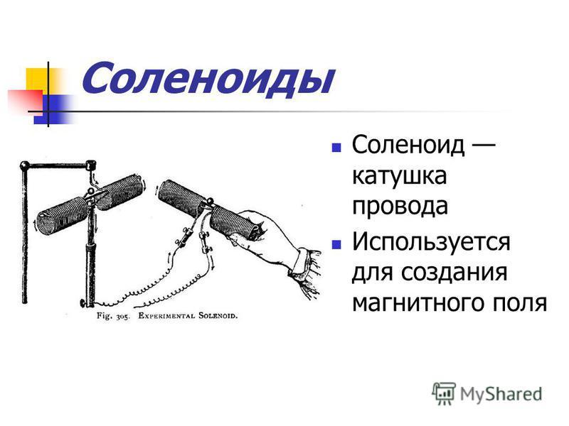 Соленоиды Соленоид катушка провода Используется для создания магнитного поля
