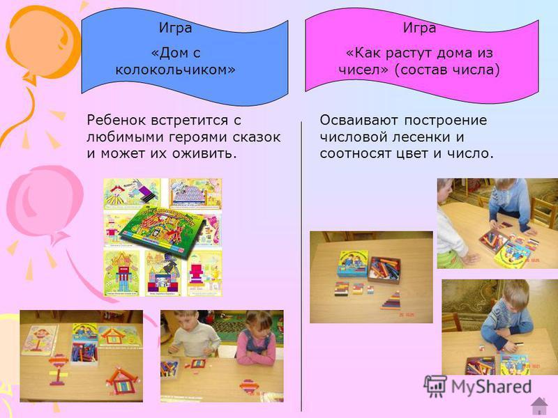 Игра «Дом с колокольчиком» Игра «Как растут дома из чисел» (состав числа) Осваивают построение числовой лесенки и соотносят цвет и число. Ребенок встретится с любимыми героями сказок и может их оживить.