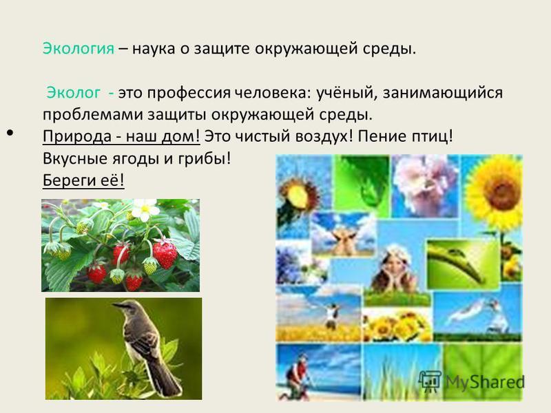 Экология – наука о защите окружающей среды. Эколог - это профессия человека: учёный, занимающийся проблемами защиты окружающей среды. Природа - наш дом! Это чистый воздух! Пение птиц! Вкусные ягоды и грибы! Береги её!