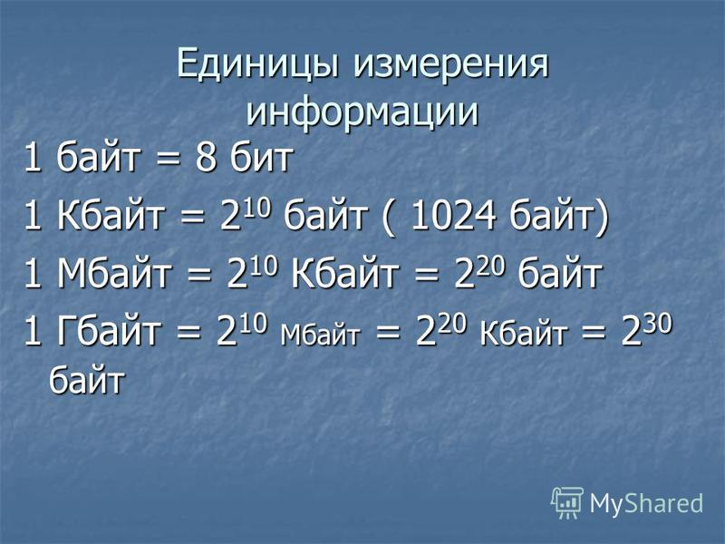 Unicode (Международный стандарт ) I = 16 бит = 2 байта N = 2 16 = 65536 символов