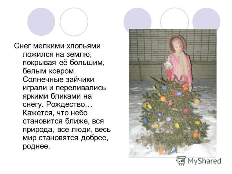 Снег мелкими хлопьями ложился на землю, покрывая её большим, белым ковром. Солнечные зайчики играли и переливались яркими бликами на снегу. Рождество… Кажется, что небо становится ближе, вся природа, все люди, весь мир становятся добрее, роднее.