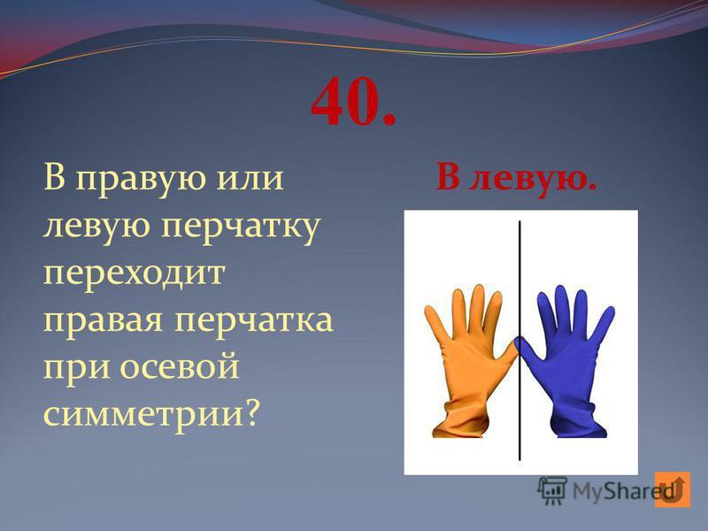 40. В правую или левую перчатку переходит правая перчатка при осевой симметрии? В левую.