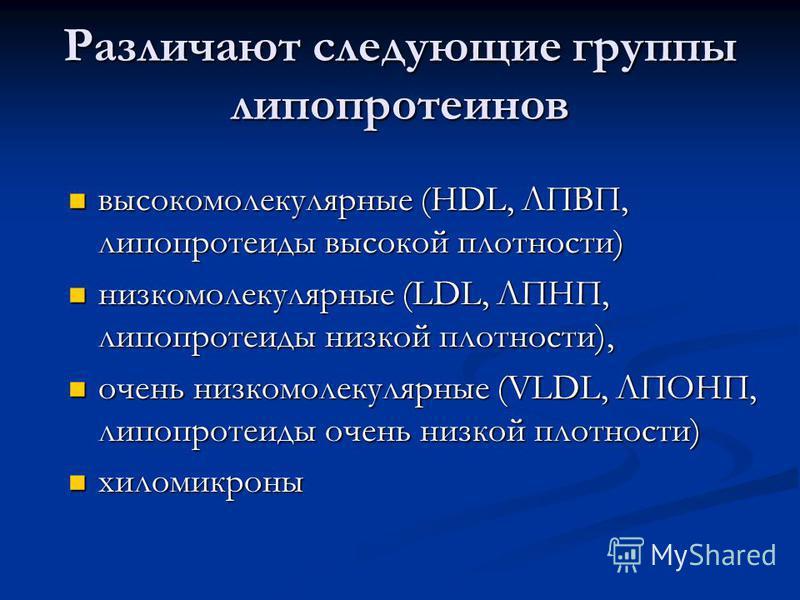 Различают следующие группы липпротеинов высокомолекулярные (HDL, ЛПВП, липопротеиды высокой плотности) высокомолекулярные (HDL, ЛПВП, липопротеиды высокой плотности) низкомолекулярные (LDL, ЛПНП, липопротеиды низкой плотности), низкомолекулярные (LDL