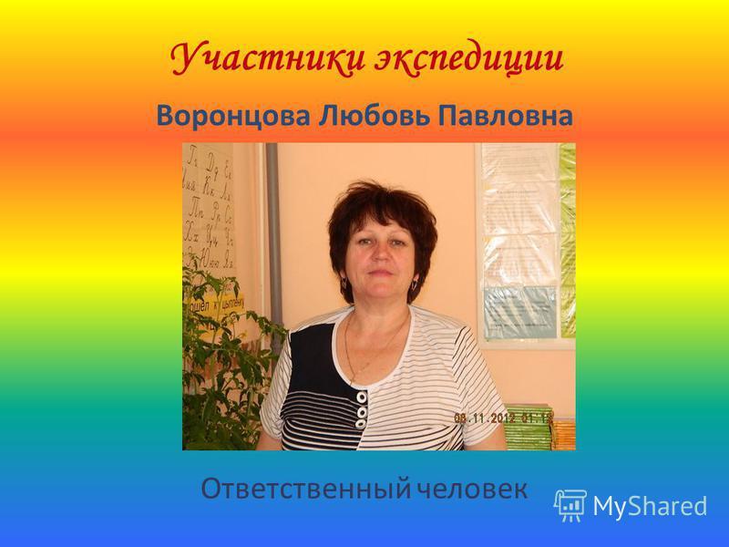 Участники экспедиции Воронцова Любовь Павловна Ответственный человек