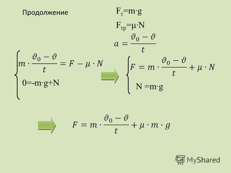 F т =m·g F тр =μ·N 0=-m·g+N N =m·g Продолжение