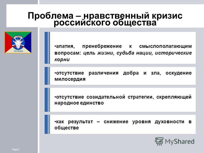 Page 2 Лицей г. Троицк Проблема – нравственный кризис российского общества апатия, пренебрежение к смыслополагающим вопросам: цель жизни, судьба нации, исторические корни отсутствие созидательной стратегии, скрепляющей народное единство отсутствие ра