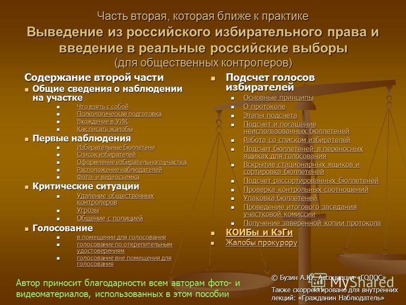 Часть вторая, которая ближе к практике Выведение из российского избирательного права и введение в реальные российские выборы (для общественных контролеров) Содержание второй части Общие сведения о наблюдении на участке Общие сведения о наблюдении на