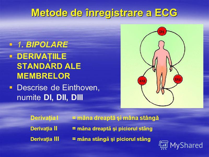 Derivaţia I = mâna dreaptă şi mâna stângă Derivaţia II= mâna dreaptă şi piciorul stâng Derivaţia III= mâna stângă şi piciorul stâng Metode de înregistrare a ECG 1. BIPOLARE DERIVAŢIILE STANDARD ALE MEMBRELOR Descrise de Einthoven, numite DI, DII, DII