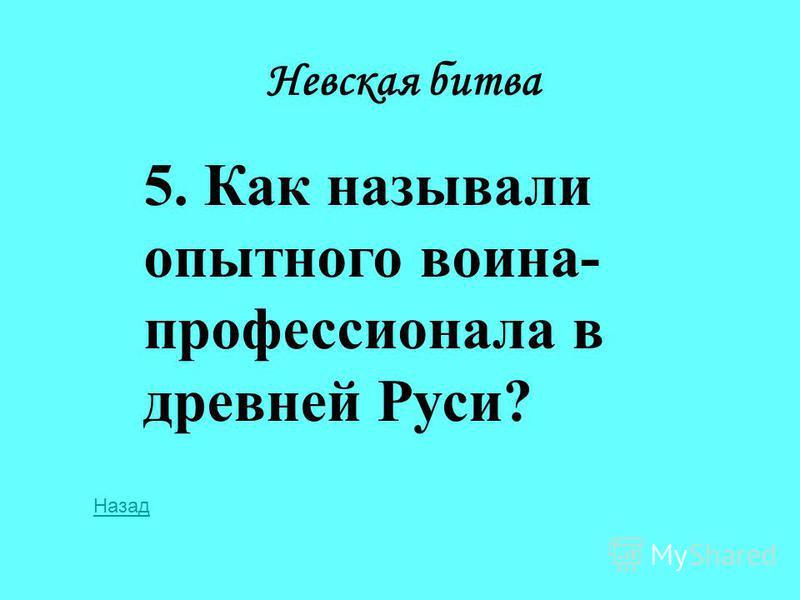 Невская битва 5. Как называли опытного воина- профессионала в древней Руси? Назад