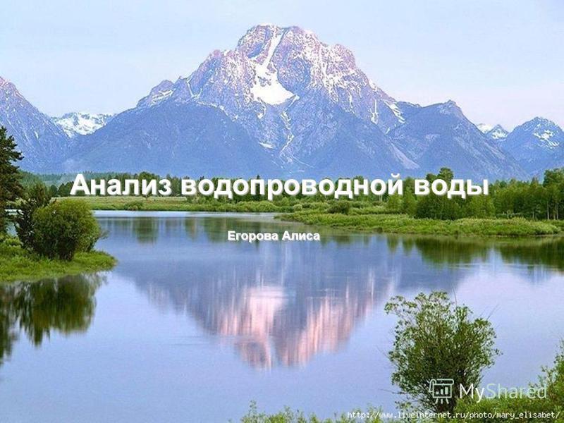 Анализ водопроводной воды Егорова Алиса