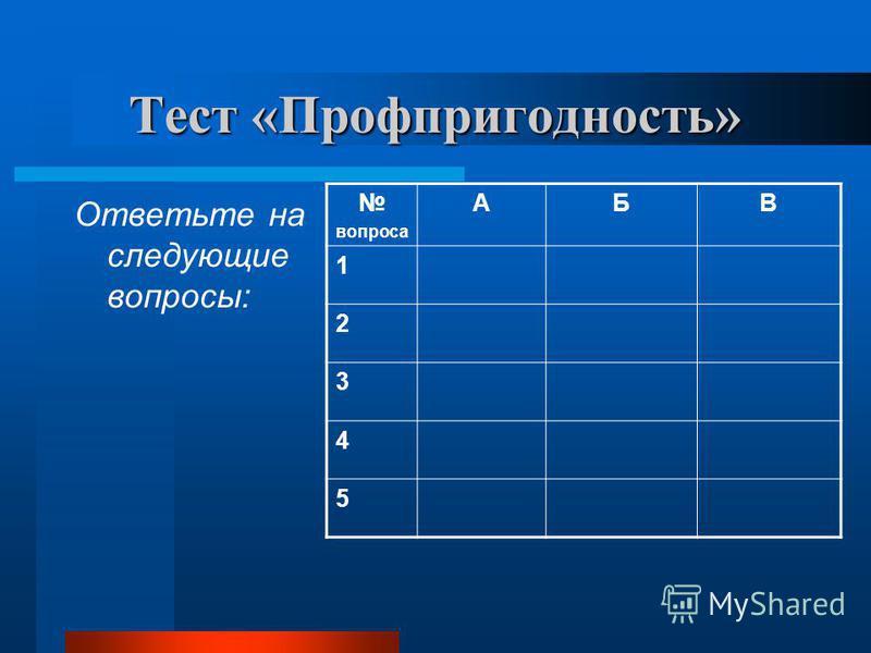 Тест «Профпригодность» Ответьте на следующие вопросы: вопроса АБВ 1 2 3 4 5