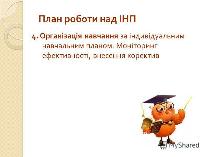План роботи над ІНП 4. Організація навчання за індивідуальним навчальним планом. Моніторинг ефективності, внесення коректив
