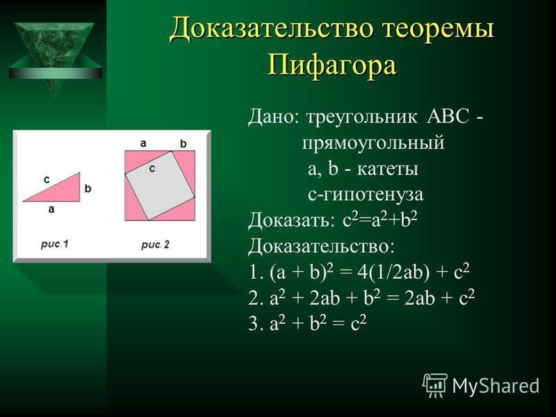 Доказательство Евклида Дано: АВС-прямоугольный, а,b-катеты, с-гипотенуза, ABHF, AGKC, BCED-квадраты Доказать: c²=a²+b² Доказательство: 1. ABD=FBC(по 2-м сторонам и углу м/у ними) BC=BD FB=AB DB А =90 ْ +ABC=FBC 2. SABD =12S BYLD BD- общее основание,