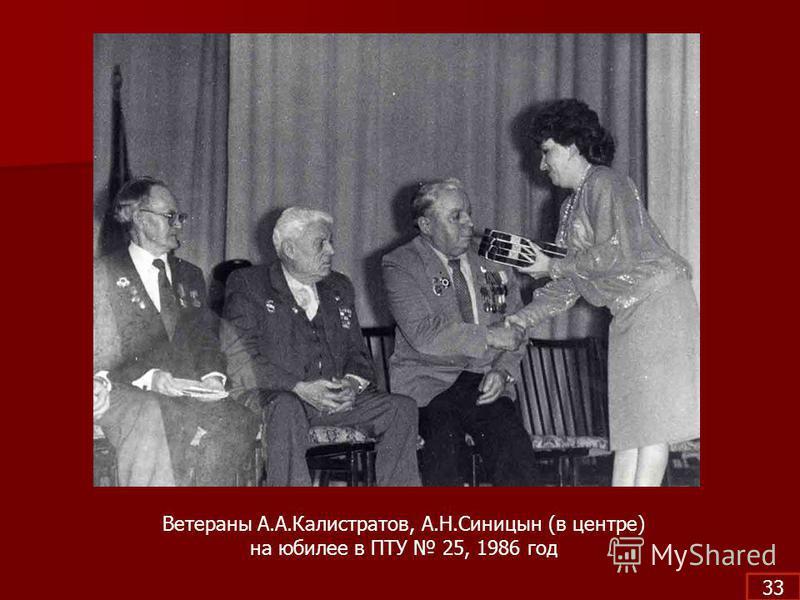 Ветераны А.А.Калистратов, А.Н.Синицын (в центре) на юбилее в ПТУ 25, 1986 год 33