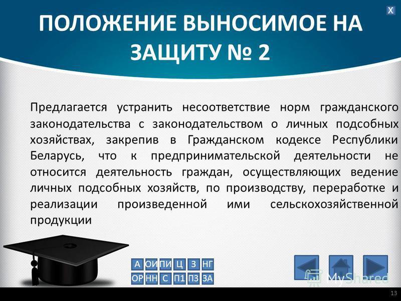 ПОЛОЖЕНИЕ ВЫНОСИМОЕ НА ЗАЩИТУ 2 Предлагается устранить несоответствие норм гражданского законодательства с законодательством о личных подсобных хозяйствах, закрепив в Гражданском кодексе Республики Беларусь, что к предпринимательской деятельности не