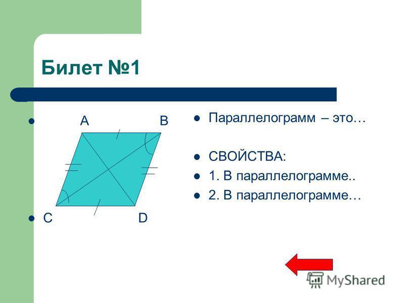 Билет 1 A B C D Параллелограмм – это… СВОЙСТВА: 1. В параллелограмме.. 2. В параллелограмме…