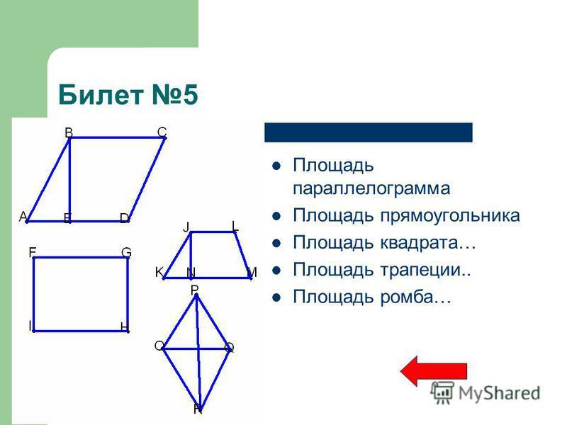 Билет 5 Площадь параллелограмма Площадь прямоугольника Площадь квадрата… Площадь трапеции.. Площадь ромба…