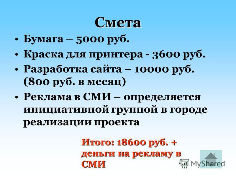 Смета Бумага – 5000 руб. Краска для принтера - 3600 руб. Разработка сайта – 10000 руб. (800 руб. в месяц) Реклама в СМИ – определяется инициативной группой в городе реализации проекта Итого: 18600 руб. + деньги на рекламу в СМИ