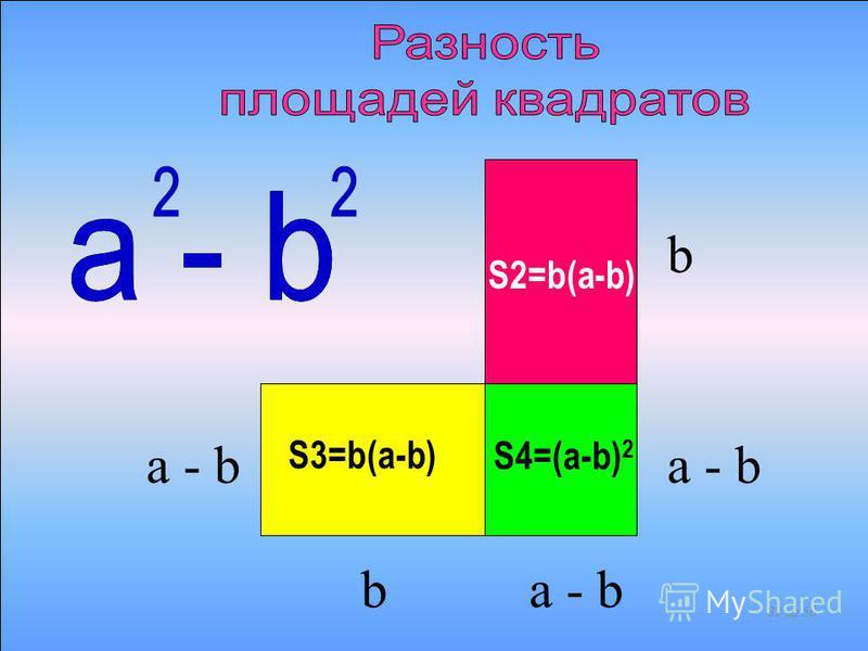 S1 = b 2 S2=b(a-b) S3=b(a-b)S4=(a-b) 2 a - b b b 31 из 56