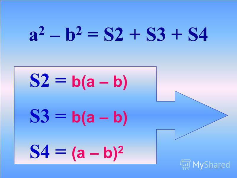 S2=b(a-b) S3=b(a-b)S4=(a-b) 2 a - b b b 32 из 56