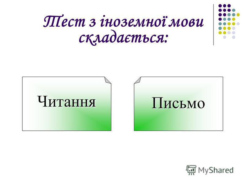 Тест з іноземної мови складається: ЧитанняПисьмо