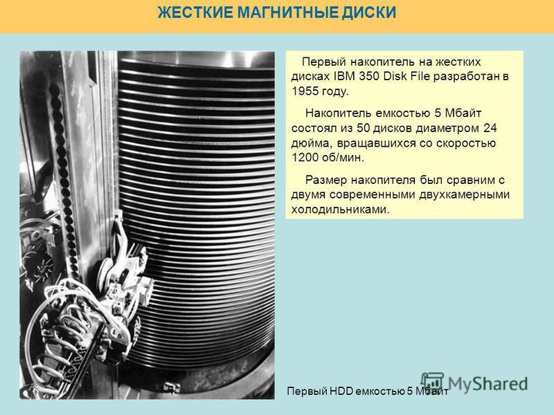 ЖЕСТКИЕ МАГНИТНЫЕ ДИСКИ Первый HDD емкостью 5 Мбайт Первый накопитель на жестких дисках IBM 350 Disk File разработан в 1955 году. Накопитель емкостью 5 Мбайт состоял из 50 дисков диаметром 24 дюйма, вращавшихся со скоростью 1200 об/мин. Размер накопи