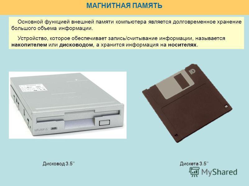 МАГНИТНАЯ ПАМЯТЬ Дискета 3.5Дисковод 3.5 Основной функцией внешней памяти компьютера является долговременное хранение большого объема информации. Устройство, которое обеспечивает запись/считывание информации, называется накопителем или дисководом, а