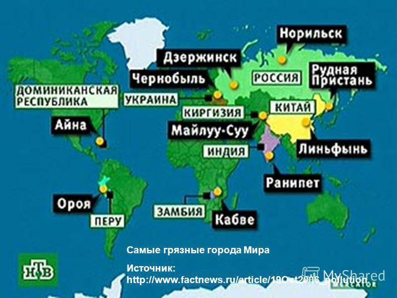 Самые грязные города Мира Источник: http://www.factnews.ru/article/19Oct2006_pollution
