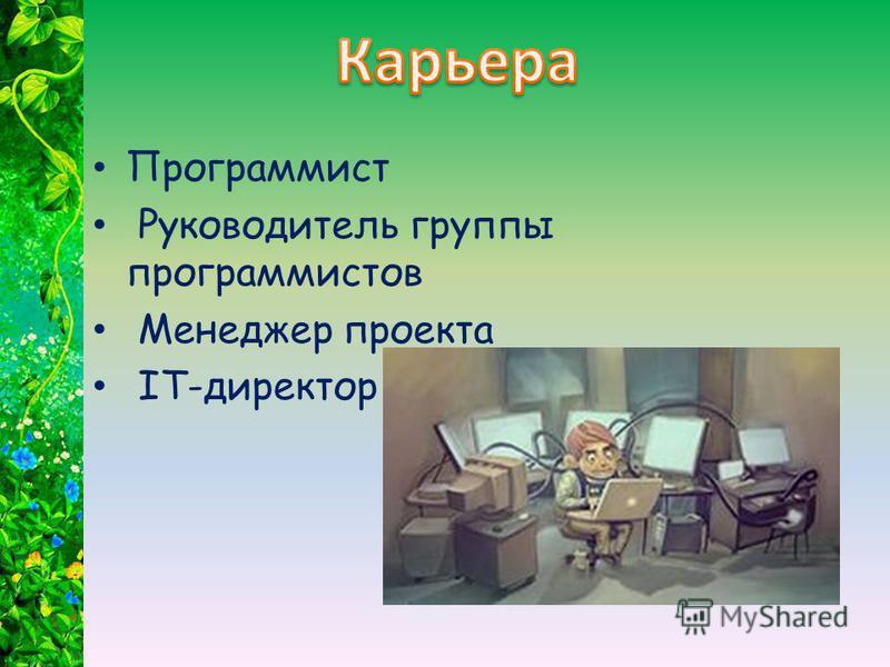 Программист Руководитель группы программистов Менеджер проекта IT-директор