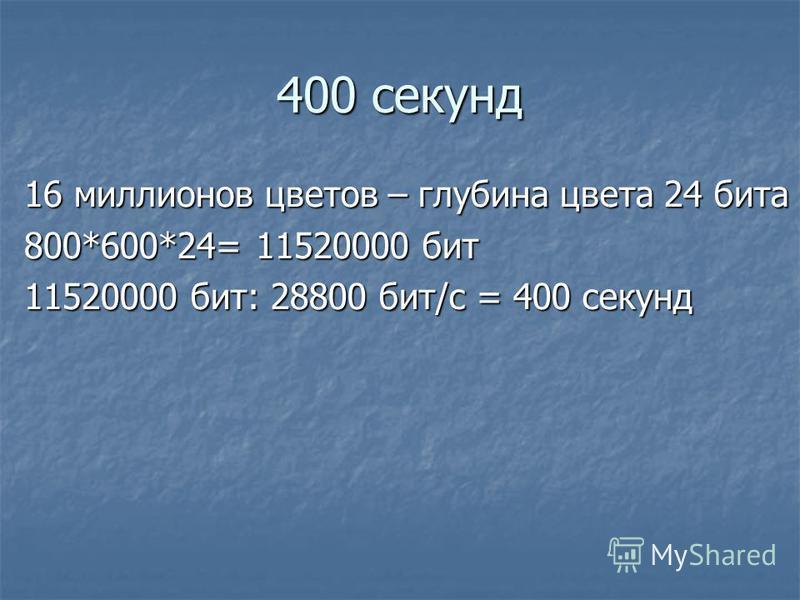 400 секунд 16 миллионов цветов – глубина цвета 24 бита 800*600*24= 11520000 бит 11520000 бит: 28800 бит/с = 400 секунд